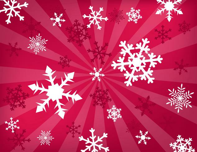 圣诞雪花背景图片:红色背景上的卡通雪花,圣诞节图片图片
