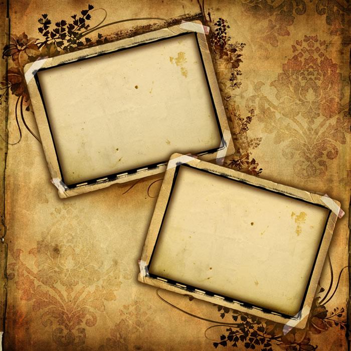 ps纱效果_古典风格双联相框,复古色调花饰相框素材