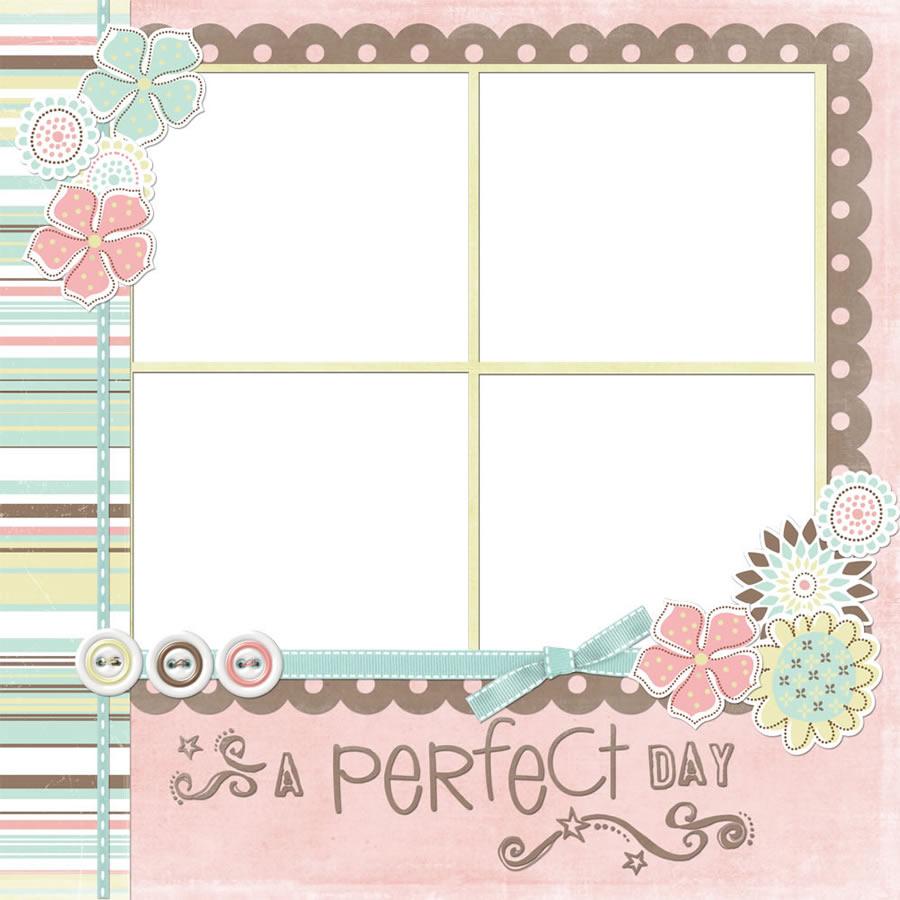 丝带花结_完美的一天 - 精致拼贴相框,卡通风格可爱四联小相框